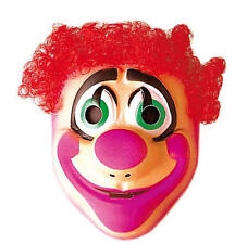 Childrens Plastic Clown Mask With Red Hair Circus Fancy Dress