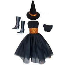 Barbie Doll Clothes Lot Halloween Fashion Pack Black Dress Witch Hat Boots Panty