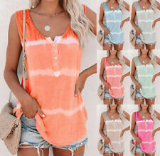 Women Tie Dye Striped Vest Tank Tops Ladies Camisole Cami Summer T Shirt Blouse