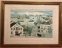 "Will Moses ""Quay Side"" Signed and Numbered 3/50 COA( 30 3/4""x 20 1/2"")lithograph"