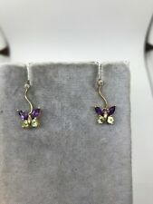 14k yellow gold 3D butterfly dangle earrings diamond amethyst peridot twist move