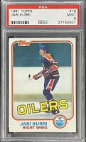 1981 1982 TOPPS Jari Kurri PSA 9 RC ROOKIE #18 Mint Oilers Kings Gretzky Winger