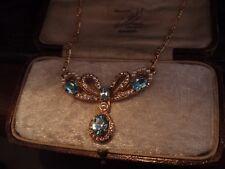 Vintage Aquamarine Blue Crystal & Seed Pearl Drop Pendant Necklace