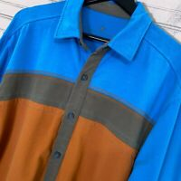 Territory Ahead L/S Mesh Knit Button Shirt Colorblock 100% Cotton Men's L