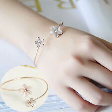 Fashion Women's Crystal Opal Daisy Flower Gold Plated Cuff Bracelet Bangle Gift