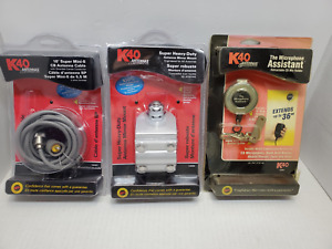 K40-- Antenna Mirror Mount, 18' CB Antenna Cable, Retractable CB Mic Holder OOB