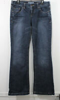 Maurices Denim Jeans Womens Size 9/10 Long Jacie Flare Stretch Distress Whiskers