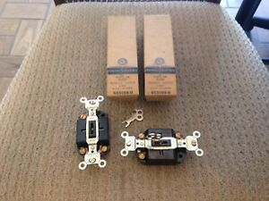 LOT OF 2 NEW GE 5088-0 KEY OPERATED 10A BROWN 3 WAY SWITCHES