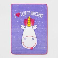 New I Love Fluffy Unicorns Despicable Me Plush Throw Blanket Gift Movie Minions