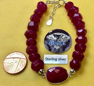 RUBY AND STERLING SILVER LARGE BEADED BRACELET WITH CONNECTOR handmade by MissC