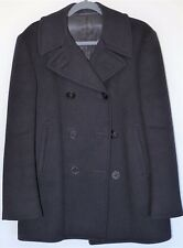 Men's VINTAGE WWII US NAVY WOOL PEA COAT Sz 38 M Blue Military Double Breasted
