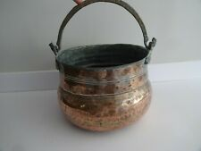 Antique Copper Plated Cooking Pot, Log/Plant Holder French-Brass Handle