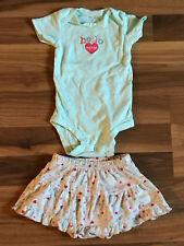 Lot of 2 Girls Infant Baby Carter's One Piece & Skorts Skirt 6M B13