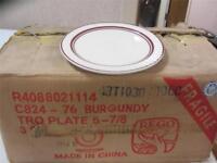 Rego Cream White with a Burgundy Trim 3 Dozen R4088021114 - 5-7/8 NEW IN BOX