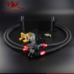 13 Row Thermostat Adaptor Engine Racing Oil Cooler Kit For Car/Truck Black