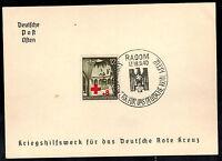 1940 Radom Poland Germany GG Souvenir Postcard cover War Relief for Red Cross