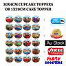 30 Cars Mc Queen Cupcake Cake Topper Edible Wafer Paper Birthday Decorations