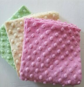 """Lot#6:  6.5"""" Minky Dot Quilt Fabric Squares, 5 - Lime Green, 8 - Yellow, 8 -Pink"""