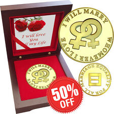 Valentine Same Sex Marriage Lesbian 1 oz Gold layered Proof Silver Coin Rosewood