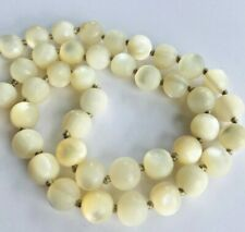 vintage Mother of Pearl MOP round beads necklace ~ 38g