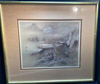 Rare Lena Lui Signed Limited Edition Winter Landscape Art Print 842/950