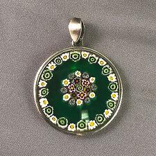 Handmade Murano Millefiori Mosaic Flower Green Round Glass Pendant 35mm