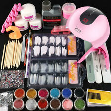 UK Sale - Acrylic Nail Starter Kit Acrylic Powder Liquid Tool Brush Tips DIY Set