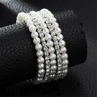 Women Pearl Crystal Rhinestone Stretch Bridal Bracelet Bangle Wristband Wedding