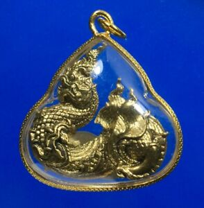 Naga Statue Wealth Lucky Dragon Brass Talisman Serpant Magic Thai Buddha Amulet