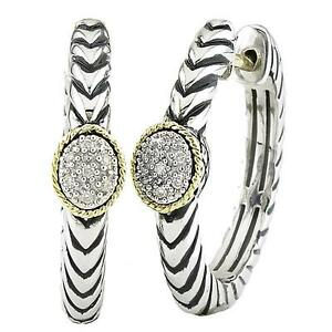 Andrea Candela 18k Gold & Silver Diamond Oval Design Hoop Earrings ACE273/05