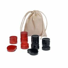 Traditional Wood Draught & Backgammon Pieces with Stackable Ridge - Red/Black -