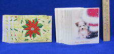 Christmas Cards 11 Poinsettia & 17 Puppy by Santas boot w/ Envelopes Lot of 28