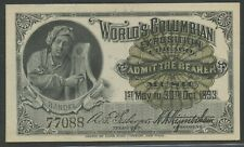 """HANDEL"" 1893 COLUMBIAN WORLD'S FAIR TICKET CHOICE UNC BU9624"