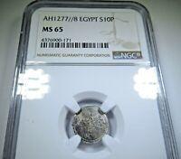 NGC MS65 Ottoman Egypt AH1277//8 1867 Silver 10 Para BU Antique Egyptian Coin