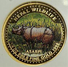 Nepal: VS 2054 (1998) Gold 1/4 Asarfi Colorized Rhinoceros. NGC PF69 UC