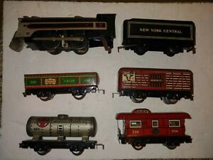 Vintage 40s Marx Electric O 027 Tin 494 CP Steam Loco,5 Freight Cars,CP, Jubilee
