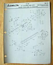 Original Delta 16 Electronic Wood Lathe Variable Illustrated Parts List Wl 7 2