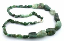 18 Inch Natural Polish Emerald Nugget Sterling Silver Clasp Necklace EBS3604