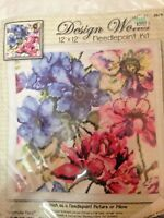 """Needlepoint Kit by Design Works """"Watercolor Floral"""" 12 Count Canvas, 12X12"""