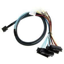 Internal Mini SAS SFF-8643 to (4) 29pin SFF-8482 connectors with SATA Power D5X5