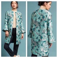 Anthropologie Ornate Blue Floral Jacquard Jacket/Coat/Topper Size 8 Boho $178