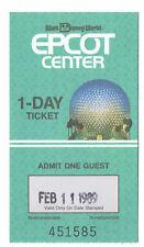 1989 Walt Disney World Epcot Center 1 day Used Admission Ticket Stub