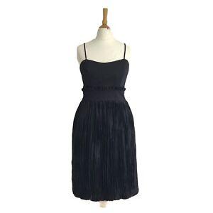 NEW FRENCH CONNECTION designer Black Hazel Crinkle Strappy Evening Dress UK  8 S