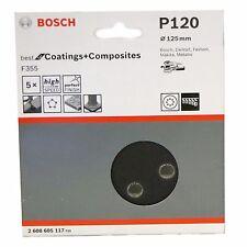 Box of 5 Bosch P120 F355 2608605117 Ø125mm Sanding Sheets for Random Orbit Sandr