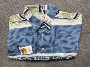 Vintage Angelo Litrico Button Up Shirt Mens Extra Large 100% Silk Short Sleeve