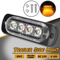4 LED 12V Trailer Side Clearance Lights AMBER Marker Indicator Truck Caravan
