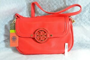 NWT Tory Burch Leather Flame Red Amanda Crossbody Purse Style No 41129210