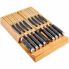 Utoplike In-Drawer Bamboo knife block, Drawer Knife Set Storage, Knife Organizer