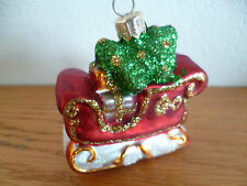 Blown Glass Christmas Ornament Sleighfull of Gifts Poland
