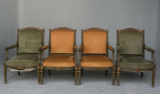 Série de 4 fauteuils de style Louis XVI laqué doré vert XIXème
